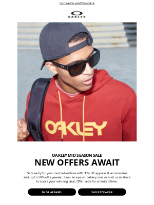 Oakley - Up to 30% Off Select Apparel & Accessories