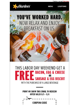 Hardee's - Breakfast is on us this weekend