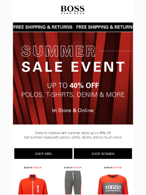 HUGO BOSS - Summer-Ready Styles: 40% off