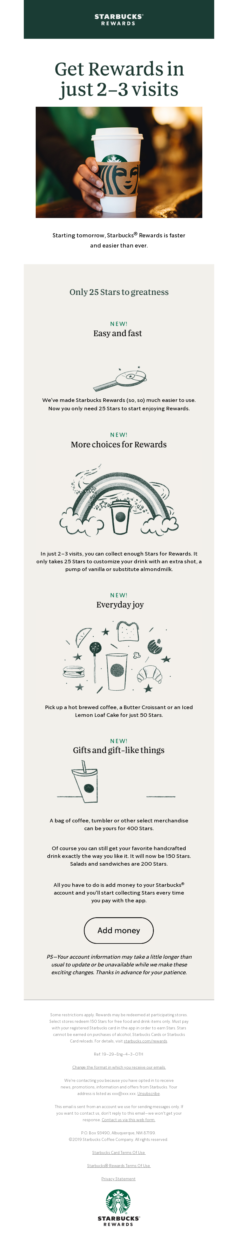 Email example promoting loyalty and customer reward program sent by Starbucks