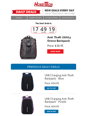 HobbyTron - $34.95 -Anti Theft Utility Drone Backpack