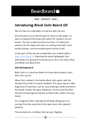 Beardbrand - Introducing the limited-edition Black Sails Beard Oil