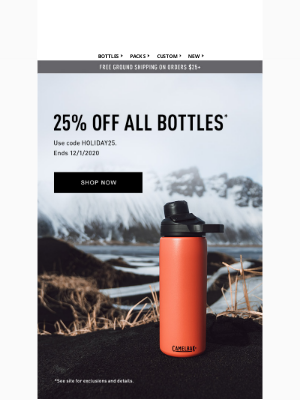 CamelBak - Save 25% off top gifts this holiday season – Ends 12/1