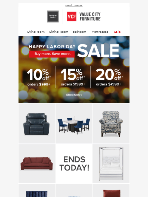 Value City Furniture - Just HOURS left: Up to 20% off!