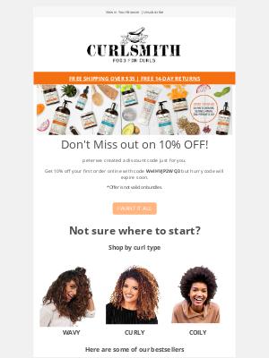 CURLSMITH - 10% OFF expiring soon