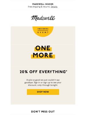 Madewell - Surprise (!) one more day for 20% off