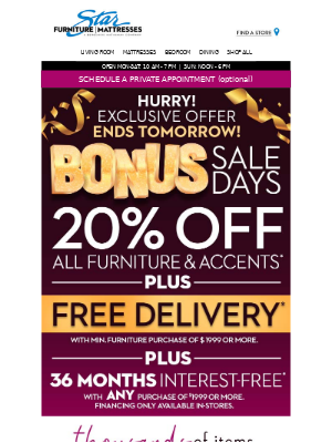 Star Furniture - Your exclusive bonus is here!  🎉