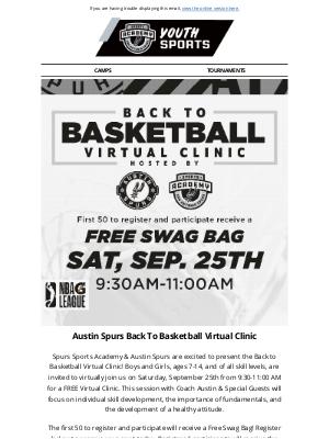 San Antonio Spurs - Austin Spurs Back To Basketball Virtual Clinic