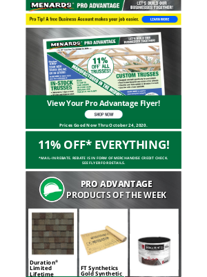 Menards - 11% OFF* Everything For Pros!
