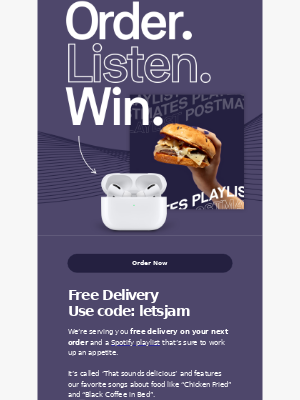 Reminder: You have free delivery and a new playlist 🎵