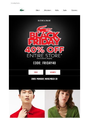 Lacoste - BLACK FRIDAY   40% Off Entire Store.