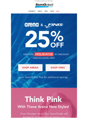 SwimOutlet - Get 25% OFF Arena & Finis 🏊♂️🏊♀️