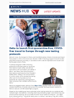Delta Air Lines - Delta to launch first quarantine-free, COVID-free travel to Europe through new testing protocols