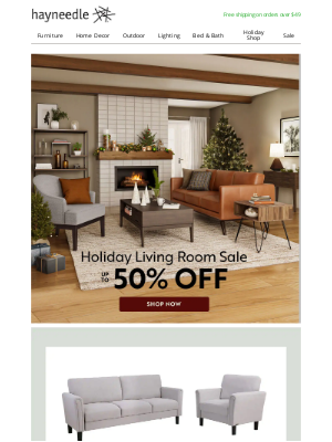 Hayneedle - Revamp your family room in time for the holidays.