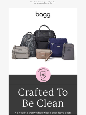 baggallini - Crafted to be clean: antibacterial bags