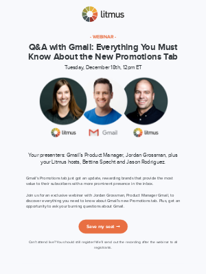 Last chance to register for tomorrow's webinar with Gmail