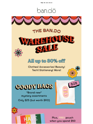 ban.do - Warehouse Sale: It's all up to 80% off!