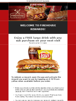 Welcome to Firehouse Rewards!