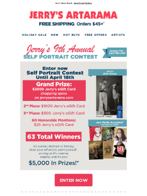 Jerry's Artarama - ✨ Jerry's 9th Annual Self Portrait Contest! ✨ - Enter Now To Win Over $5000 In Prizes!