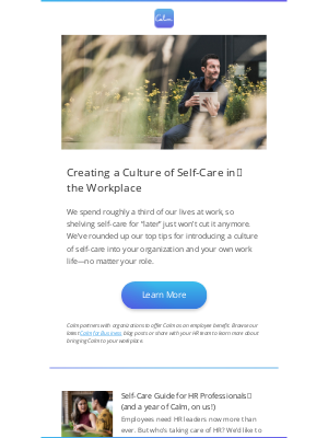 Calm - Claim your free Calm + Self-Care in the workplace