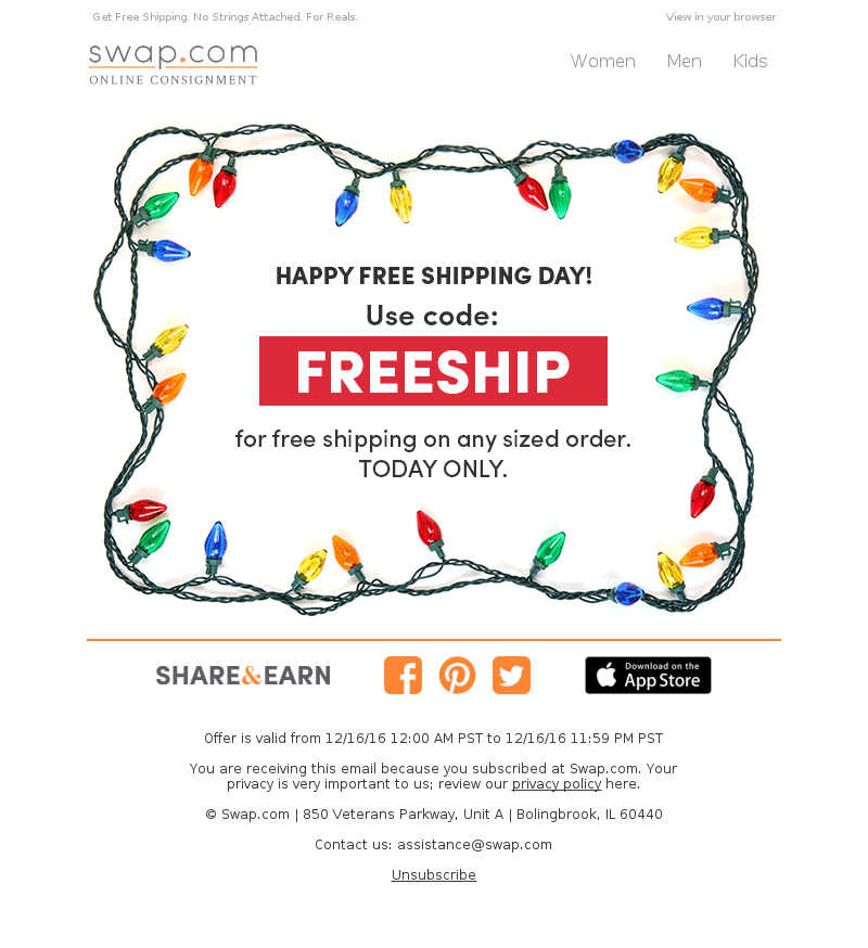 Swap - Celebrate Free Shipping Day at Swap - Today Only!