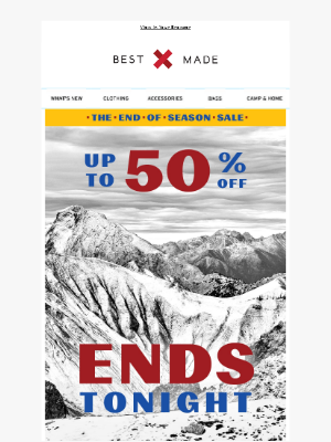Ends Tonight: Up to 50% Off Sale