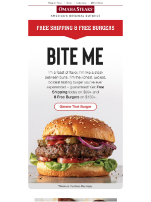Omaha Steaks - Big News: Try our BIGGER burgers for FREE!
