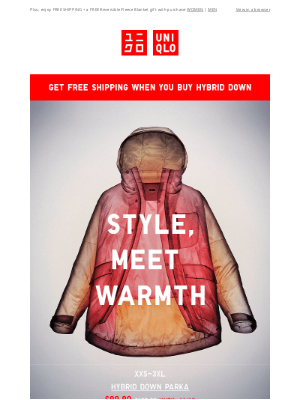 UNIQLO - NEW DEALS on our warmest outerwear. Hybrid Down now $30 off!