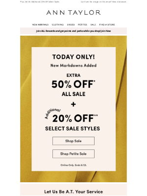 Ann Taylor - Extra 50% Off Sale (Including New Markdowns!)