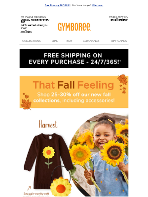 Gymboree - 🌾🍏⚠️ Fall for 25-30% off Harvest, Candy Apple & Demo Dude!