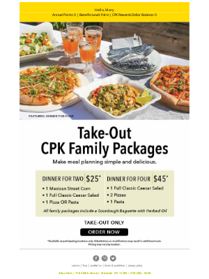 California Pizza Kitchen - Simple and Delicious Meal Planning Options
