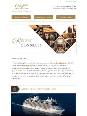 Oceania Cruises - Regent Connects – The Luxurious Return of Seven Seas Explorer®