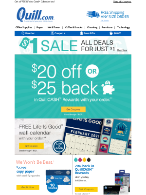 Quill - 🕭 Ring in the New Year: Deals for $1 PLUS $20 Off or $25 QuillCASH™ Rewards Offer