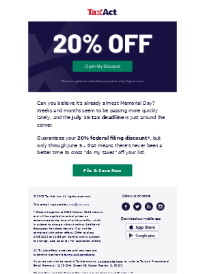 20% off federal filing ends soon.