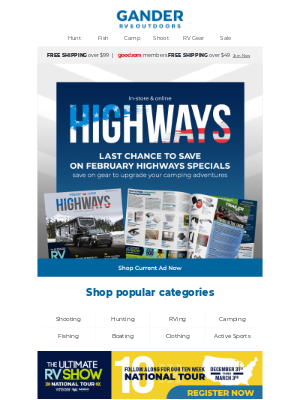 Gander Mountain - Last Chance to Save up to 60% from the February Highways Ad!