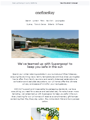 onefinestay - Book a stay in LA and receive a gift from Supergoop!