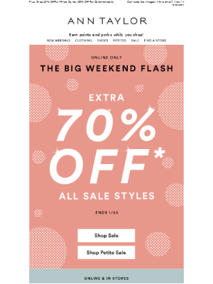 The Big Weekend Flash: EXTRA 70% Off Sale