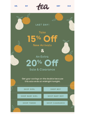 Tea Collection - Ends Today: 15% Off New Arrivals + 20% Off All Sale