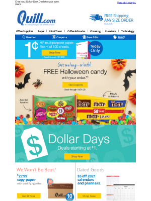 Quill - (1) NEW NOTIFICATION: Copy Paper for 1¢ (Today Only) plus 20% QuillCASH™ Offer.
