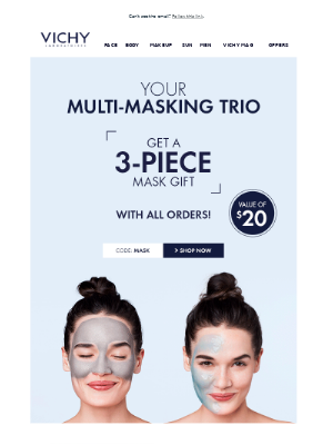 Step up you face mask game! Free masks for a limited time.