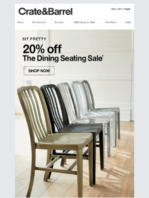 Pull up a chair—they're 20% off.