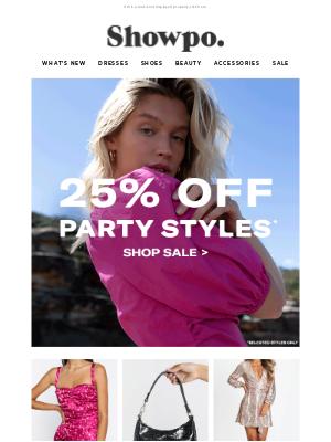 Showpo - 25% Off Your Entire Party Look