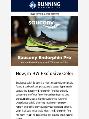 Running Warehouse - Saucony Endorphin Pro in an RW Exclusive Color!