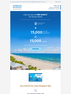 Earn 15,000 Bonus Points with No Annual Fee¹
