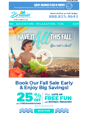 Brittain Resorts & Hotels - See what your Fall Vacation can look like in Myrtle Beach!