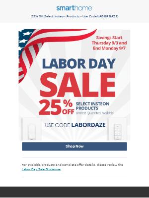 Smarthome - Big Labor Day Weekend Savings!