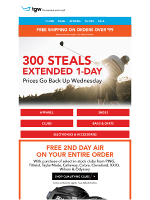 tgw - 300 Steals Extended 1-Day! Prices Go Back Up Wednesday