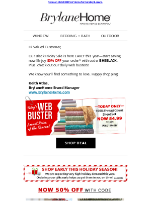 Brylane Home - Early Black Friday SALE = Extra 50% OFF Your Order
