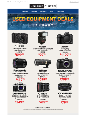 Unique Photo - January Used Equipment Deals