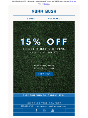 Nunn Bush - Free 2 Day Shipping + 15% Off! 48 Hours Only